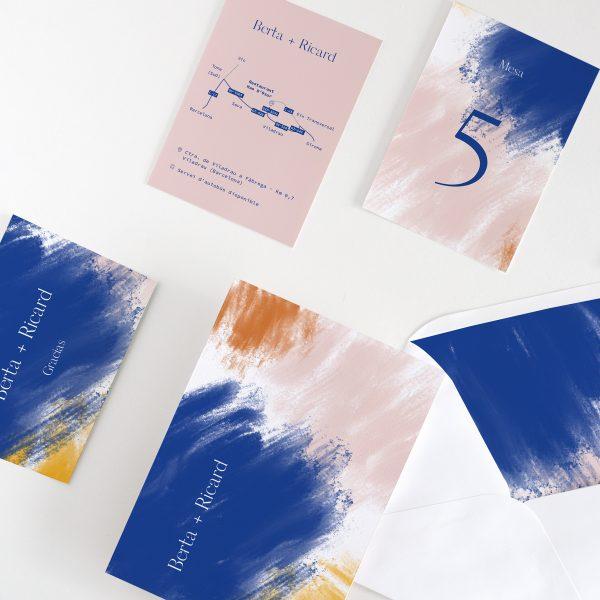 Papelería para la boda original y moderna estilo abstracto