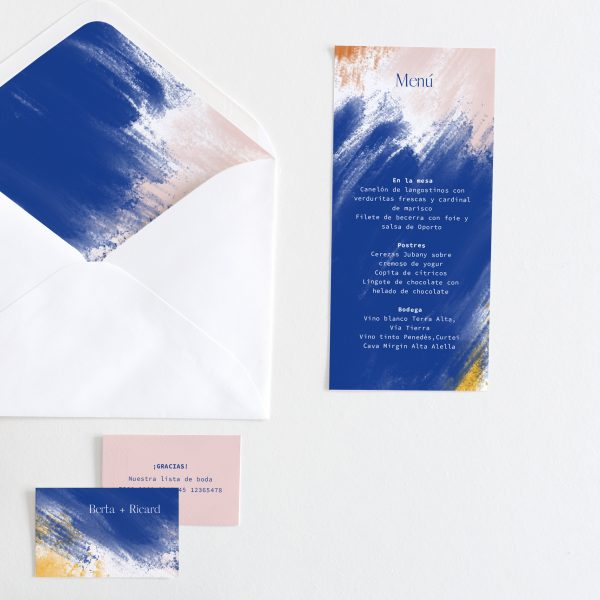 Conjunto de papelería para bodas modernas, minutas, meseros, tarjetitas