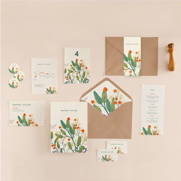 colección invitaciones y papelería de boda a juego con dibujo de hojas