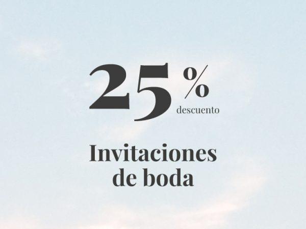 promocion 25% descuento invitaciones boda