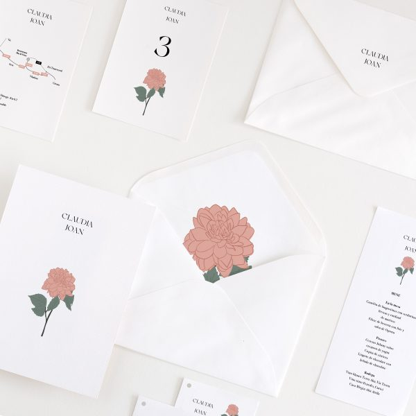 Invitaciones de boda minimalistas con flor