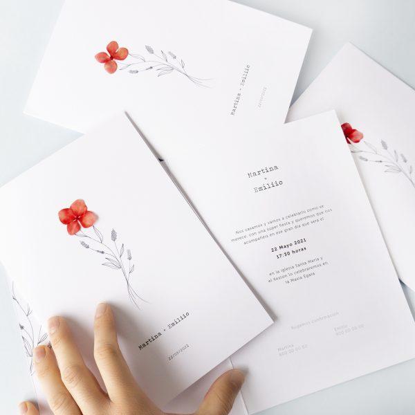 elegantes y originales invitaciones para boda flor natural