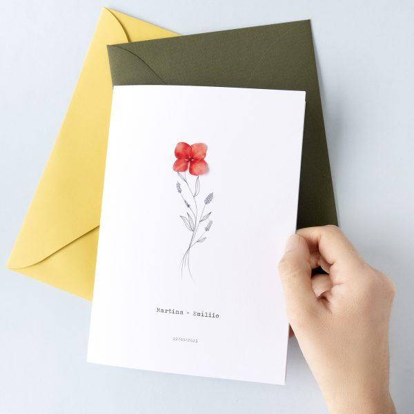 Invitaciones de boda originales con flores naturales