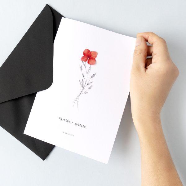 elegantes invitaciones para boda con detalles de flores naturales