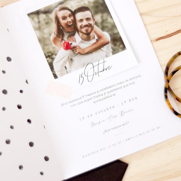 invitaciones de boda con foto polaroid