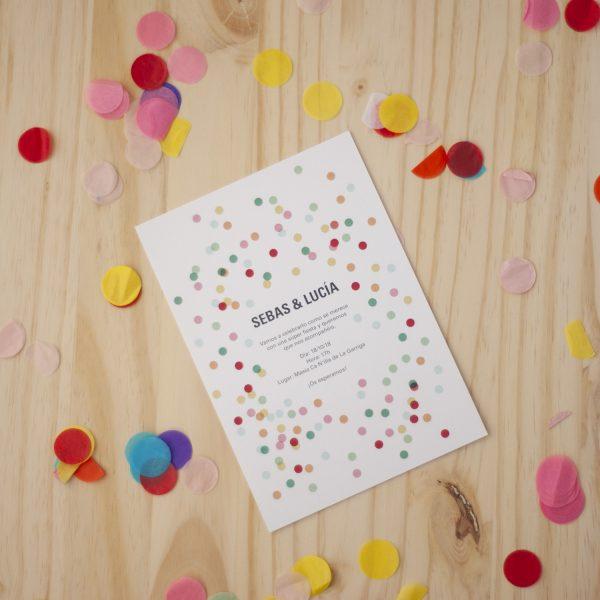 invitación boda confeti
