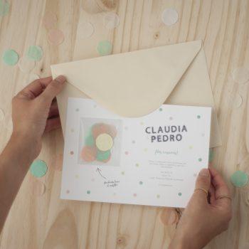 Invitaciones de boda confeti