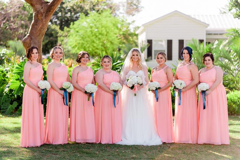 Vestidos para damas de boda color salmon