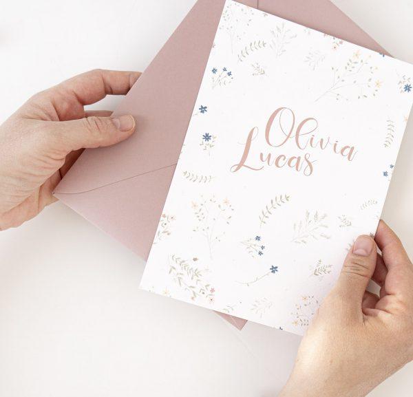 Invitaciones boda rústicas con flores