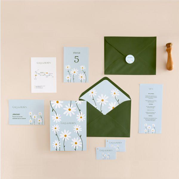 coleccion invitaciones boda con todo a juego margaritas