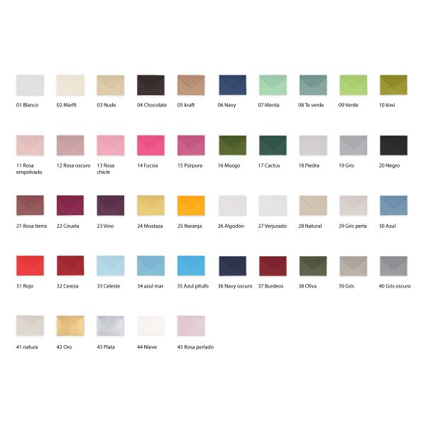 Más de 50 colores sobres para bodas