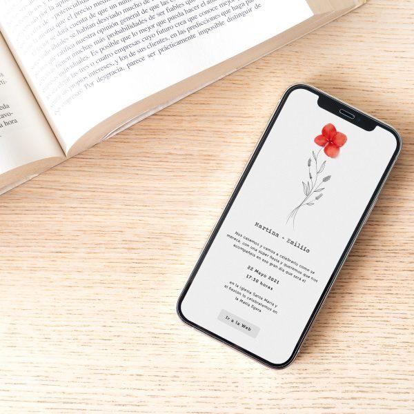 Invitación de boda digital minimal para enviar a través del móvil o whatsapp