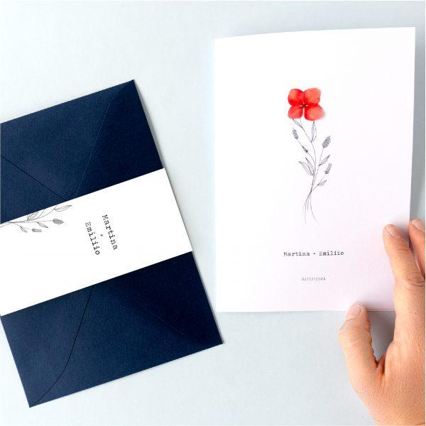 fajin para sobre a juego invitacion de boda estilo minimal flores