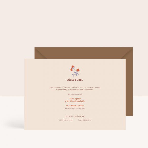 Invitaciones de boda originales con flores en tonos tierra