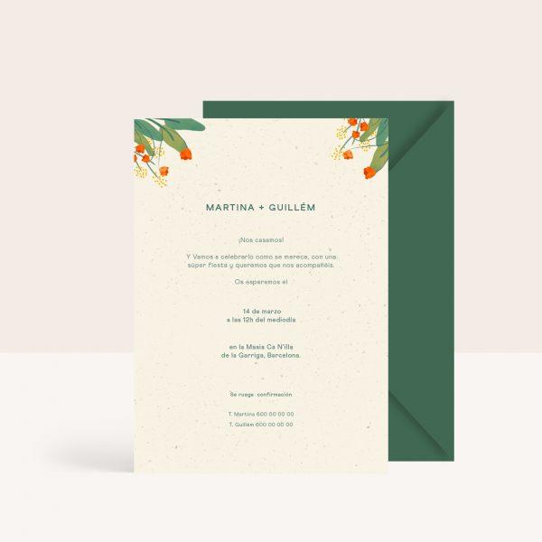 Invitaciones de boda frescas con hojas y flores