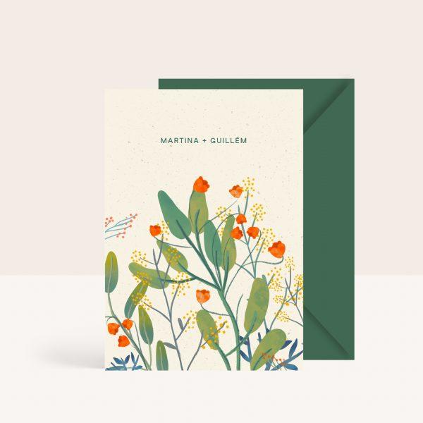 Invitaciones de boda frescas y elegantes con hojas
