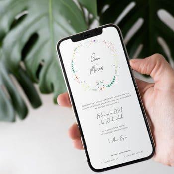 Invitación de boda digital floral para whatsapp