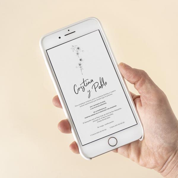 Invitación digital flor cerezo dorada