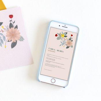 invitacion digital floral low cost