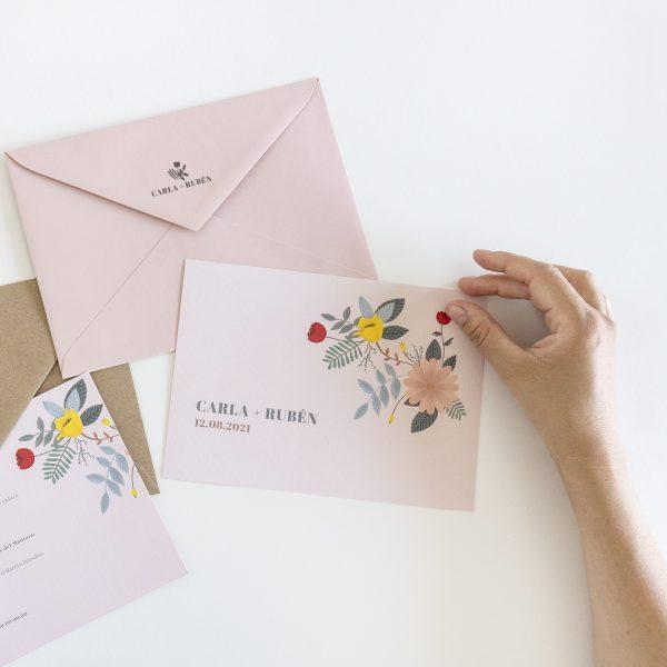 invitacion boda con sello floral