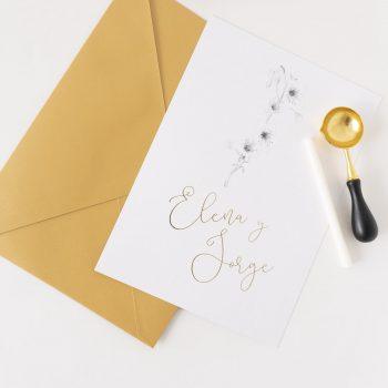 Invitaciones de boda doradas