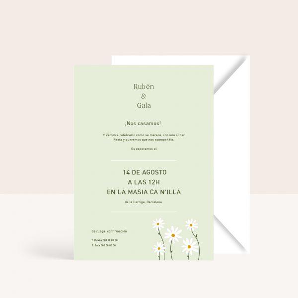invitaciones de boda con margaritas verde