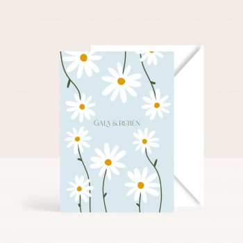 invitaciones de boda florales con margaritas 2