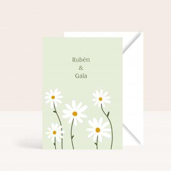 invitaciones de boda con margaritas verde primaverales