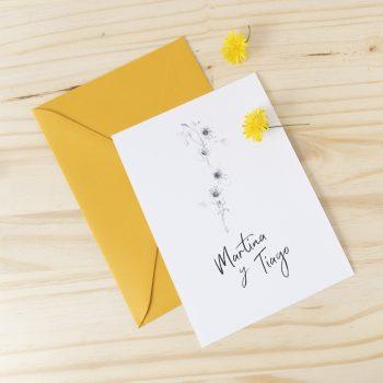Invitaciones de boda primavera flores minimalistas