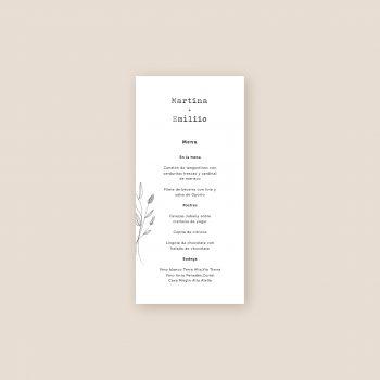 minutas o menu de boda a juego invitaciones de boda minimal flores