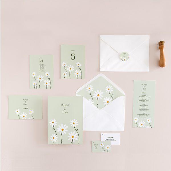 _pack invitaciones boda con todo a conjunto flores margaritas -2